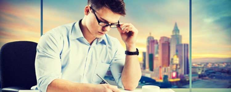 Man Focusing on Studying