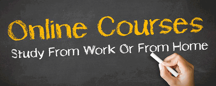 the words online courses and study from work or home written in chalk against a blank board