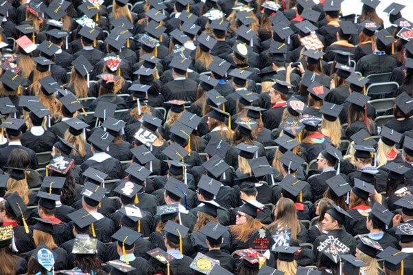 room full of graduates