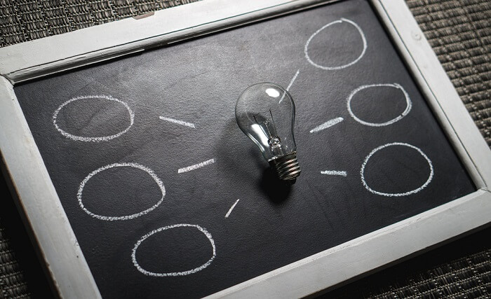 blackboard with lightbulb